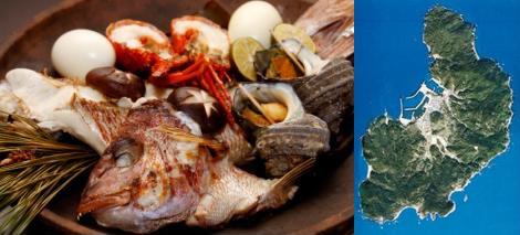 沼島の鯛料理と空撮マップ